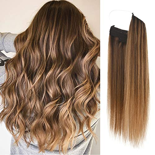 Vanalia Premium Remy Human Hair Halo Hair Extensions, Chocolate Brown with Caramel Blonde Highlights, 16 Inch. 100 Gram