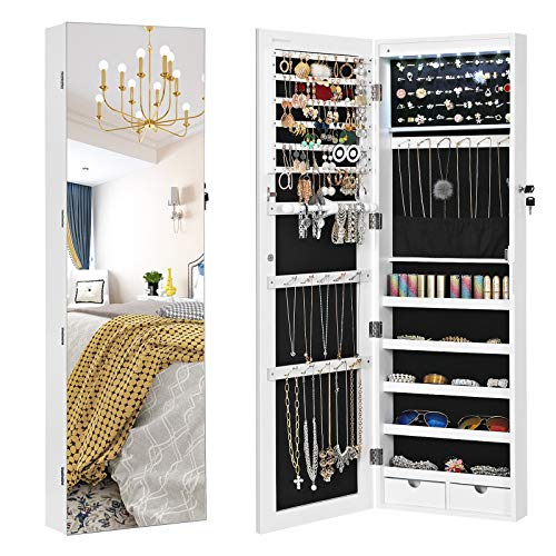 SONGMICS 47.2' H Full Screen Mirrored Jewelry Cabinet Armoire, 6 LEDs Jewelry...