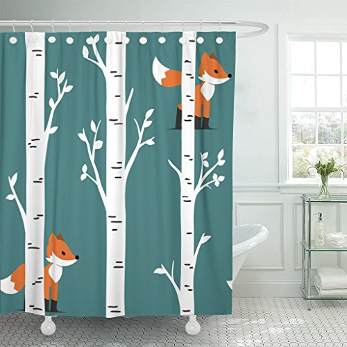 Emvency Shower Curtain Colorful Animal Nursery Woodland Baby Room Forest Prints Fox with Birch Trees and Leaves Design Orange Waterproof Polyester Fabric 72 x 72 inches Set with Hooks