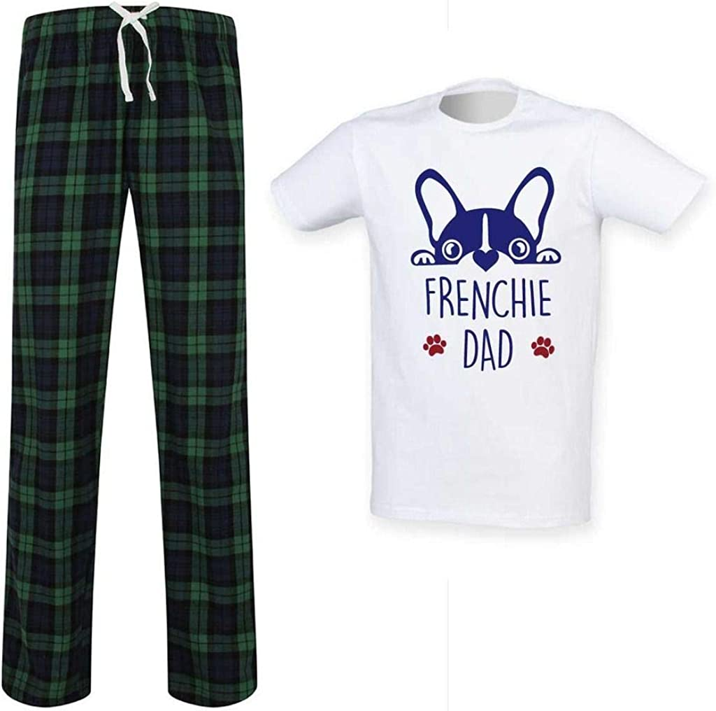Mens Frenchie Dad Tartan Pyjama Set Fathers Day Pet Clothes Present French Bulld