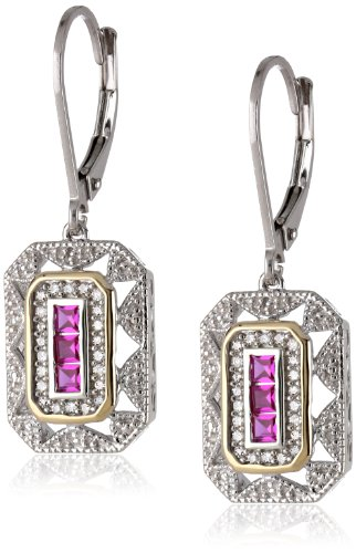 Sterling Silver and 14k Yellow Gold and Created Ruby Art Deco-Style with Diamond Accents Drop Earrings (0.12 cttw, I-J Color, I3 Clarity)