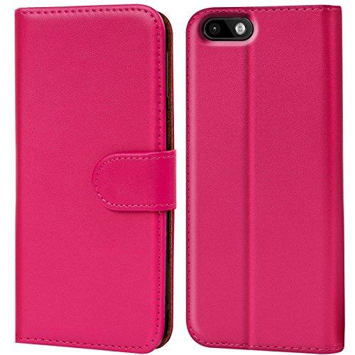 Verco Lenny 3 Hülle, Handyhülle für Wiko Lenny 3 Tasche PU Leder Flip Hülle Brieftasche - Pink