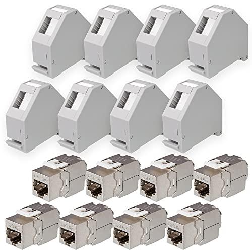 hb-digital Set: 8X Cat.6a Keystone Modul RJ45 + 8X Hutschienenadapter Keystone-Halterung für Hutschiene 35mm Standard | RJ35-Jack geschirmt werkzeuglose Montage Ethernet LAN Netzwerk STP LSA