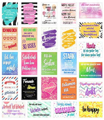Edition Seidel Set 25 Postkarten mit Sprüchen - Karten mit Spruch - Geschenkidee - Dekoidee - Liebe, Freundschaft, Leben, Motivation, lustig – Postcrossing - Geburtstagskarten (20102)