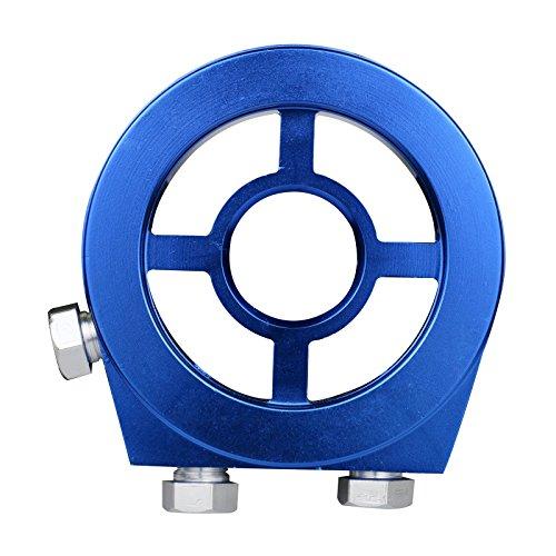 Adaptateur de filtre à huile de Sandwich, universel en aluminium de pression d'huile de filtre de jauge de température de filtre Kit d'adaptateur JDM avec 4 boulons (Bleu)
