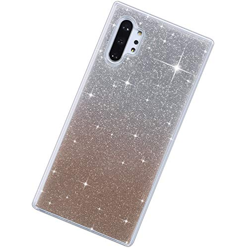 Coque Compatible avec Samsung Galaxy Note 10 Plus/Note 10 Pro Étui KunyFond Design Crystal Bling Glitter Paillettes Ultra Mince Souple TPU Silicone Clear Protection Choc Scratch Crystal Housse,Or Rose