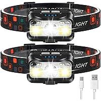 2-Pack LHKNL 1100 Lumen Motion Sensor LED Head Lamp Flashlight