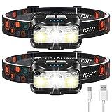 Headlamp Rechargeable, LHKNL 1100 Lumen Super Bright Motion Sensor Head Lamp flashlight, 2-PACK...