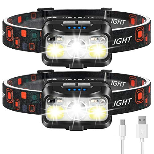 Headlamp Rechargeable, LHKNL 1100 Lumen Super Bright Motion Sensor Head Lamp flashlight, 2-PACK Waterproof LED Headlight with White Red Light, 8 Modes Head Lights for Camping Cycling Running Fishing