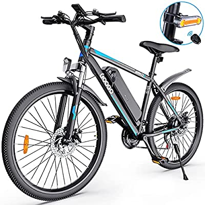"""26"""" Electric Bike for Adults,Googo Electric Mountain Bike with 350W Motor,Removable 36V Battery,Professional 21 Speed Gears,Middle 5 Speed LCD Display with USB,3 Working Modes,20MPH Electric Bicycle"""