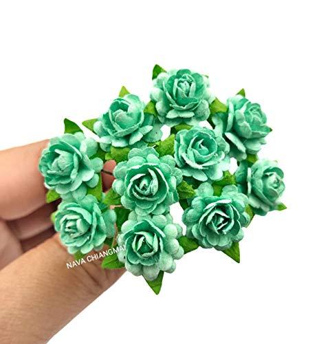 NAVA CHIANGMAI Beautiful Artificial Mulberry Paper Rose Flower (Heart Petals Rose) Wedding Card Embellishment, Scrapbooking Wedding Doll House Supplies Card,DIY Flower Accessories. (Mint Green)