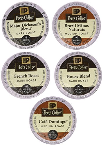 New! 20 K-cup Peets Coffee Sampler Variety PackNo Decaf (2014 Brazil Minas Naturais, Cafe Domingo, House Blend, Major Dickasons, French Roast)