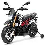 HONEY JOY Ride on Motorcycle, 12V Mini Electric Bike Toy w/ Training Wheels, Headlight & Music, Foot Pedal, Spring Suspension, Battery Powered Electric Motorbike for Kids (Black)