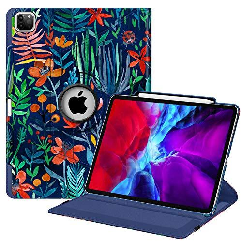 FINTIE Rotating Custodia per iPad PRO 12.9 2020/2018 con Built-in Pencil Holder - 360 Gradi di Rotante Cover Case [Supporta la Carica di Pencil 2nd Gen] con Auto Sonno/Sveglia, Jungle Night