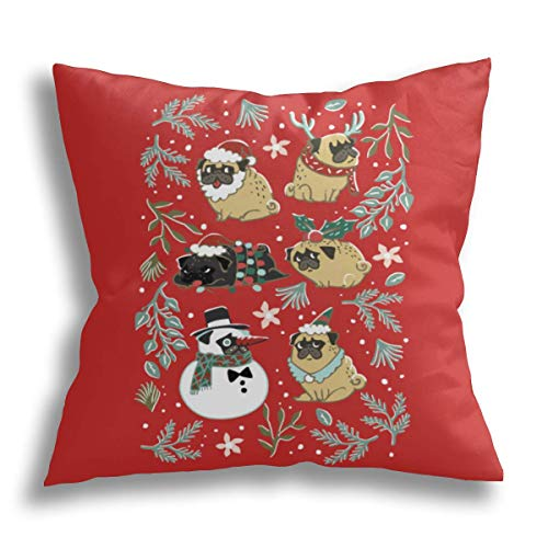 HCLIFE-Christmas Pugs – Federa copricuscino decorativa per cuscino quadrata, dimensioni standard, 40 x 40 cm
