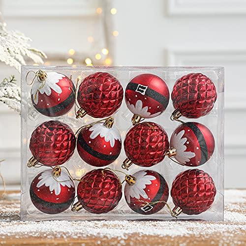Betos - Set di 24 palline di Natale per albero di Natale, palline di Natale infrangibili, 6 cm, lucide, opache e glitterate, decorazioni per Natale da appendere