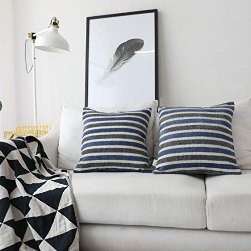 Kevin Textile Best Decorative Striped Warm Linen Bottom Chenille Jacquard Pillow Case Simple Style Throw Cushion Cover for Chair/Bedroom, 18'x18'(45cm),2 pcs, Navy Blue