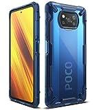 Ringke Fusion-X Compatible con Funda Xiaomi Poco X3 NFC (2020), Compatible con Funda Xiaomi Poco X3 Pro (2021), Transparente Carcasa Parachoque Antigolpes TPU - Space Blue