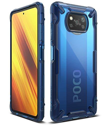 Ringke Fusion-X Compatible con Funda Xiaomi Poco X3 NFC (2020) Transparente Carcasa Poco X3 NFC, Parachoque TPU Resistente Impactos Funda para Poco X3 NFC (6.67 Pulgadas) - Space Blue