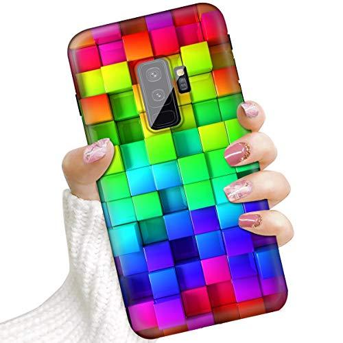 Voor Samsung S9+, Galaxy S9 Plus, Beschermende Kunst Ontwerp Soft Back Case Telefoon Cover, IMD IMD0002 Regenboog Vierkant Patroon 0002