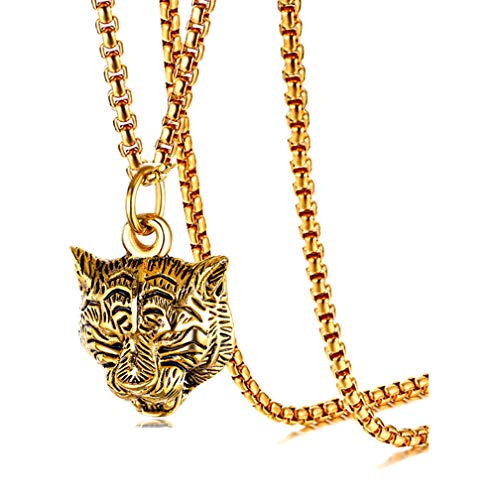Xusamss Punk Rock Stainless Steel Animal Tiger Head Tag Pendant Charm Necklace(Gold)