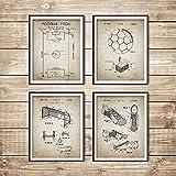 Vintage Soccer Blueprint Carteles e Impresiones Campo de fútbol, Balón de fútbol, Bota, Meta, Diseño Neto Arte de la Pared Pintura Decoración para el hogar 40x60cmx4 Sin Marco