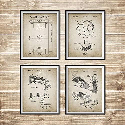 Poster Impresiones Vintage Cuadro Plano Patente FúTbol Campo FúTbol Balón Bota Red PorteríA DiseñO Cuadros Decoracion Pintura Decoración 40x50cmx4 Sin Marco