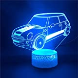 Lámpara De Ilusión 3D Base De Reloj Con Luz Nocturna Led Mini Cooper Car Para Adolescente Para Sala Touch Ensor Base Brillante 7 Colores Con Control Remoto