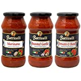 Botticelli Pasta Sauce (Pack of 3) - Tomato & Basil, Roasted Garlic and Marinara Sauce Premium...