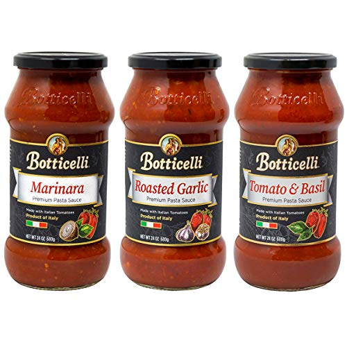 Botticelli Pasta Sauce (Pack of 3) - Tomato & Basil, Roasted Garlic and Marinara Sauce Premium Variety Pack for Low Carb Spaghetti Sauce, Pizza, Dip, & Soup - Made With Italian Organic Tomatoes - 24oz