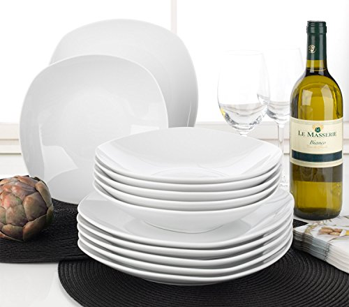 Home4You Tafelservice Geschirrset Tafel-Service | 12-TLG. (6 Personen) | Weiß | Porzellan