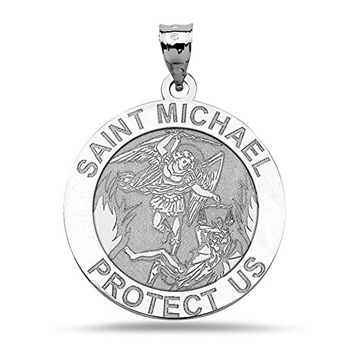 PicturesOnGold.com St Michael Pendant - Sterling Silver Saint Michael Religious Medal - 3/4 Inch - Includes 18 inch Chain.