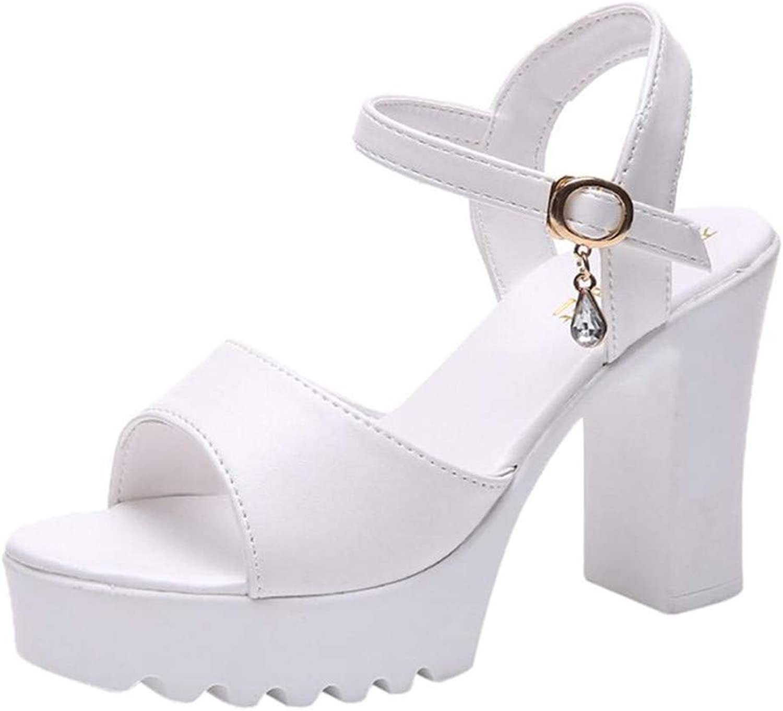 Ghua Sandals Women Fish Mouth Platform High Heels Wedge Sandals Buckle Slope Sandals