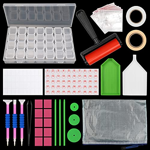 Dsaren 52 Piezas Herramientas de Pintura de Diamante 5D DIY Diamante de Pintura con Lápiz de Punto de Diamante Pinzas Pegatina Bandeja de Plástico Caja Bordado de Diamantes Adultos Niños
