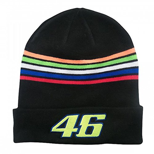 Valentino Rossi VR46 Moto GP The Doctor Rayures Beanie Noir Officiel 2018