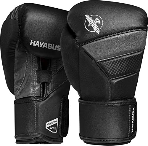 Hayabusa T3, guantoni da boxe, Unisex - Adulto, nero/grigio., 10oz
