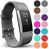Yousave Accessories Compatible Strap for FitBit Charge 2, Silicone Sport Wristband for the FitBit Charge 2 - (Small - Single Pack, Grey)