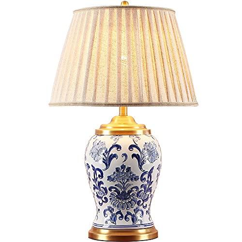Zenghh China Cerámica de noche Lámpara de noche Lámpara de porcelana blanca tradicional clásica Azul Lámpara Deak con la lampana de cáñamo Control remoto de atenuación de la camionera para la bibliote