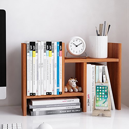 Jerry & Maggie - Desktop Organizer Office Storage Rack Adjustable Wood Display Shelf - Free Style Double H Display - True Natural Stand Shelf - Natural Wood Tone