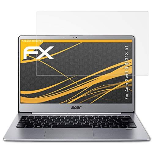 atFolix Panzerfolie kompatibel mit Acer Swift 3 SF313-51 Schutzfolie, entspiegelnde & stoßdämpfende FX Folie (2X)