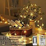 AmaHome Estrella Luna Luces De Navidad 80 LED Luces De Cadena 10M Centelleo Luces De Hadas USB De Pilas Impermeable Decoración Navideña para Dormitorio Interior y Exterior 8 Modos Control Remoto