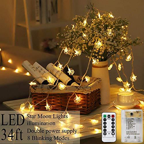 AmaHome Estrella Luna Luces De Navidad 80 LED Luces De Cadena 10M Centelleo Luces De Hadas USB De Pilas Impermeable...