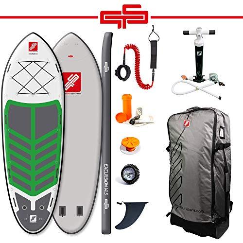 grandtoursports*com Stand Up Paddle Board, 140x442x20cm 950l bis 600kg, aufblasbares SUP Stand Up Paddling Board GTS Excursion 14.5 inkl. Zubehör Set