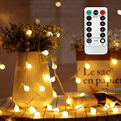 Globe Fairy String Lights Battery Powered 49FT/15M 100Leds Indoor Outdoor String Lights LED 8 Modes Waterproof with Remote & Timer for Bedroom Christmas Wedding Garden Party Decoration - Warm White