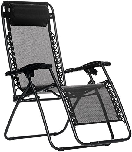 Amazon Basics Outdoor Zero Gravity Lounge Folding Chair, Black