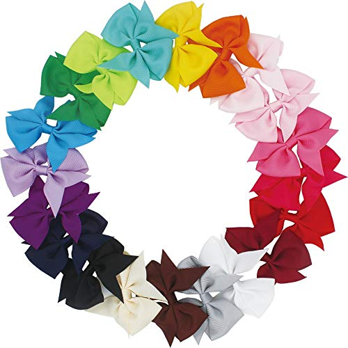 JOYOYO 20 Pcs Baby Hair Clips Baby Bow Clips Toddler Girls Hair Bows Medium Size 3.5 Inch Craft Ribbon Bows, Fit for Growing Babies, Toddlers, Kids