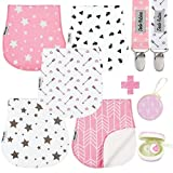 Baby Burp Cloths Pack of 5 by Dodo Babies + 2 Pacifier Clips + Pacifier Case, Premium Qual...