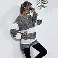 ストライプニットセーターの女性のミッド長プルオーバー秋と冬の新しいホワイト Jskdzfy (Color : Off-white, Size : S)