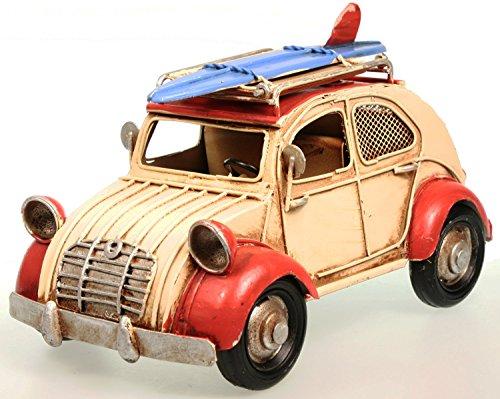 Metall Oldtimer Auto als Ente 20 cm, creme-rot, Bilderrahmen, Spardose