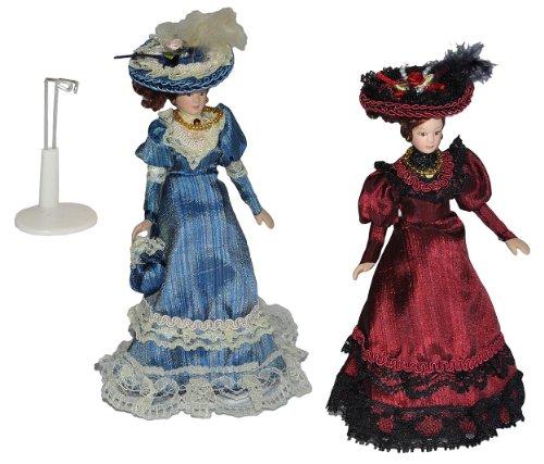 alles-meine.de GmbH 2 TLG. Set - Frau / Mutter - Puppe für Puppenstube Maßstab 1:12 - Porzellan Barock Kleid blau UND rot - Puppen mit echten Haaren - Biegepuppen Familie Biegepu..